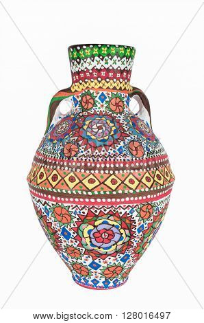 An Egyptian decorated colorful pottery vessel (arabic: Kolla) made of clay one of the oldest habits of the Ancient Egyptians one of the art works of Ebtessam ElGohary a contemporary Egyptian artist specialized in pottery painting art