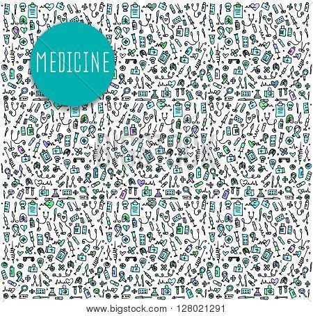 Hand drawn Medicine elements, seamless pattern Medicine, Medicine doodles elements, Medicine seamless background. Medicine sketchy illustration