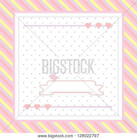 cute bird with butterfly on striped background vector illustration