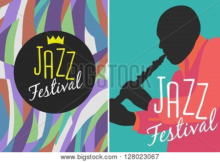 Retro Jazz festival Poster, illustration of Jazz band and cool Jazz singer who is striking a stylish pose and playing a Jazz musical performance
