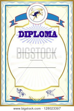 illustration of Judo. Hand drawn. diploma art