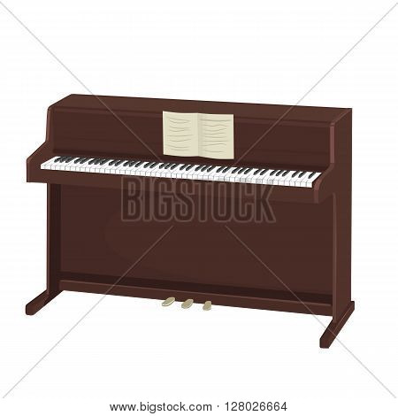 brown upright piano with notes isolated on white background