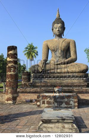 Ancient Seated Buddha Statue In Sukhothai