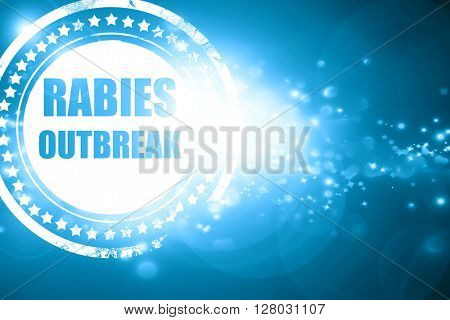 Blue stamp on a glittering background: Rabies virus concept back