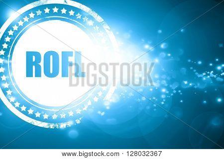 Blue stamp on a glittering background: rofl internet slang