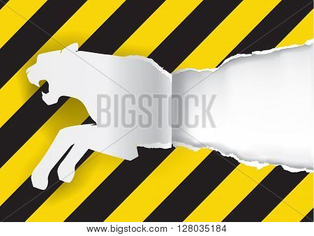 Paper silhouette of tiger ripping paper background with construction sign with place for your text or image. Vector available.