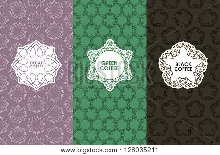 Vector set of templates packaging, label, banner, poster, identity, branding, logo icon, seamless pattern in trendy linear style for coffee package - green, black, decaf coffee