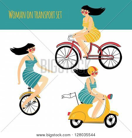 Vector illustration contains set of city traveler, woman in three different situations. On unicycle, on scooter, on bicycle