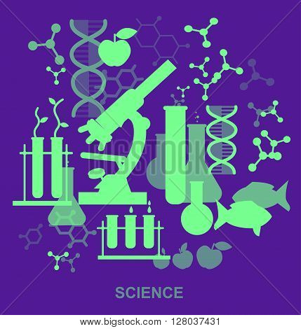 Biotechnology icons concept, composition of genetic engineering, nanotechnology and genetic modification with microscope