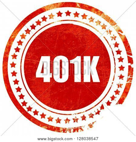401k, grunge red rubber stamp on a solid white background