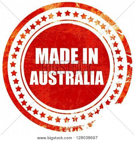 Made in australia, grunge red rubber stamp on a solid white back