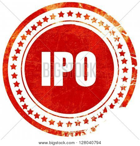 ipo, grunge red rubber stamp on a solid white background