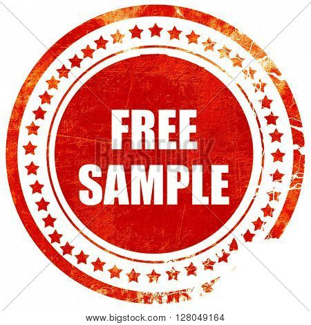 free sample sign, grunge red rubber stamp on a solid white backg