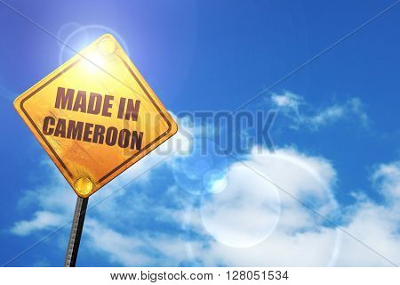 Yellow road sign with a blue sky and white clouds: Made in camer
