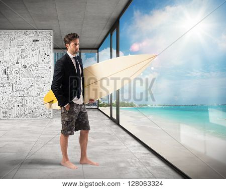 Businessman with suit and swimsuit at office