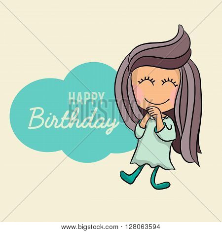 Cute Happy birthday cartoon greetings card, postcard, poster. Cartoon vector character of a happy, excited little girl having a happy birthday. Vector happy birthday design for children, kids, teens.