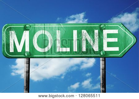 moline road sign , worn and damaged look
