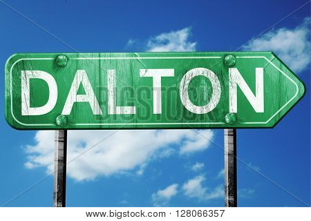 dalton road sign , worn and damaged look