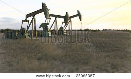 Oil wells - oil pumps on meadow - 3D render