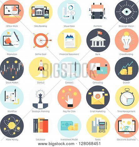 Business And Finance Theme, Flat Style, Colorful, Vector Icon Set
