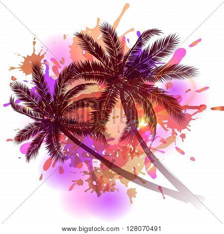 Summer background with palm trees silhouette on inkblots
