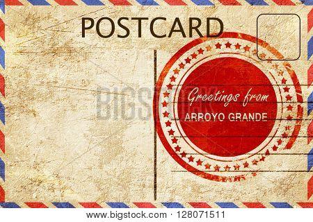 arroyo grande stamp on a vintage, old postcard