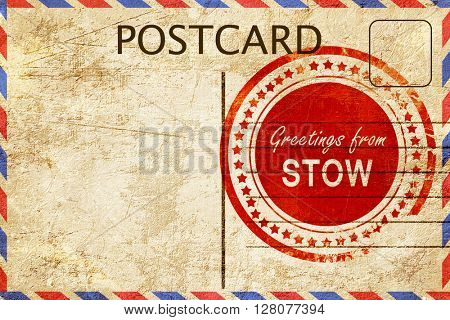 stow stamp on a vintage, old postcard