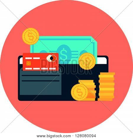 Payment Type Theme, Flat Style, Colorful, Vector Icon For Info Graphics, Websites, Mobile And Print