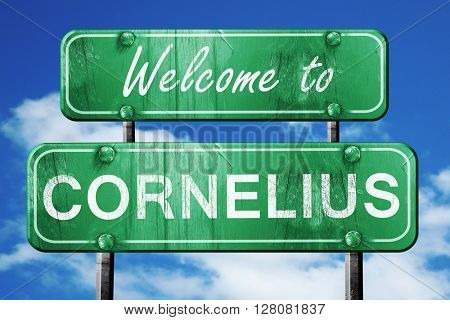 cornelius vintage green road sign with blue sky background