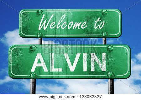 alvin vintage green road sign with blue sky background