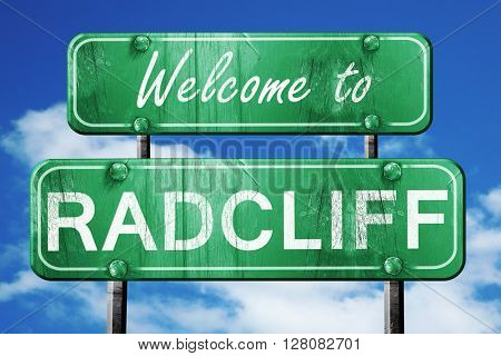radcliff vintage green road sign with blue sky background