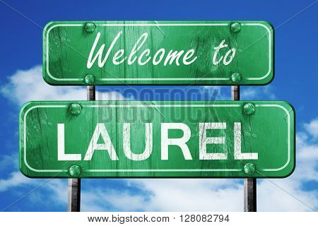 laurel vintage green road sign with blue sky background