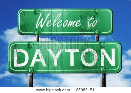 dayton vintage green road sign with blue sky background