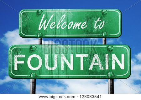 fountain vintage green road sign with blue sky background