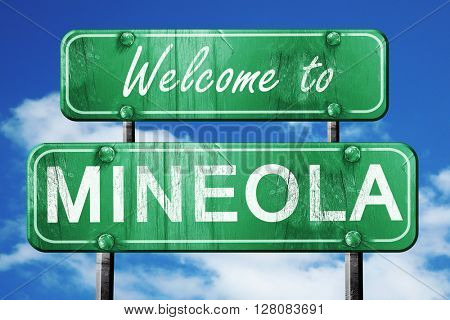 mineola vintage green road sign with blue sky background