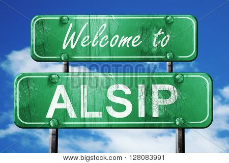 alsip vintage green road sign with blue sky background