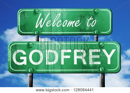godfrey vintage green road sign with blue sky background