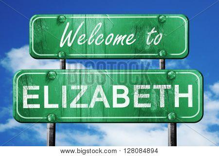 elizabeth vintage green road sign with blue sky background
