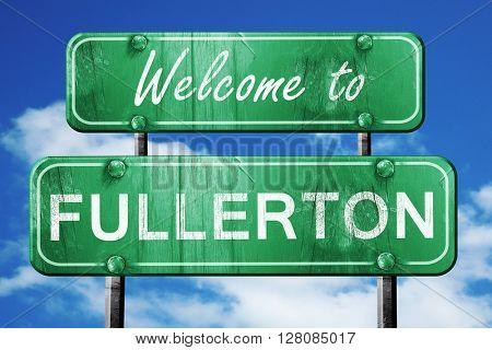 fullerton vintage green road sign with blue sky background
