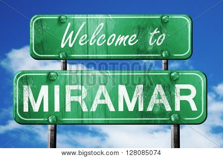 miramar vintage green road sign with blue sky background