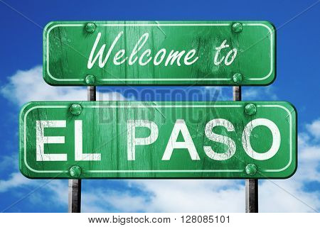 el paso vintage green road sign with blue sky background