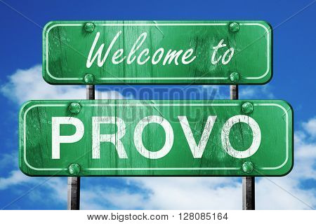 provo vintage green road sign with blue sky background