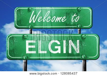 elgin vintage green road sign with blue sky background