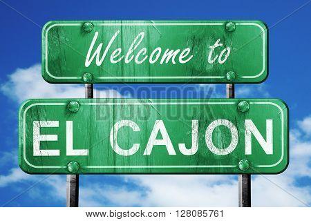 el cajon vintage green road sign with blue sky background