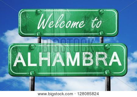 alhambra vintage green road sign with blue sky background