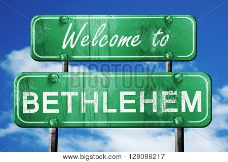 bethlehem vintage green road sign with blue sky background