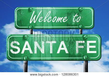 santa fe vintage green road sign with blue sky background