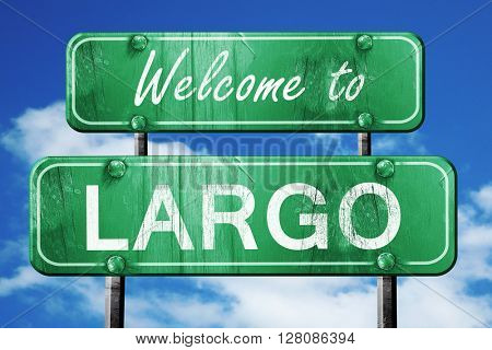 largo vintage green road sign with blue sky background