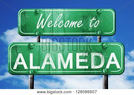alameda vintage green road sign with blue sky background