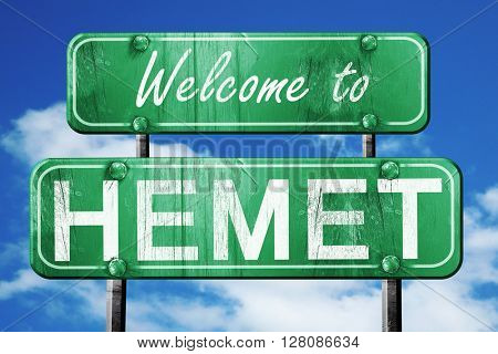 hemet vintage green road sign with blue sky background